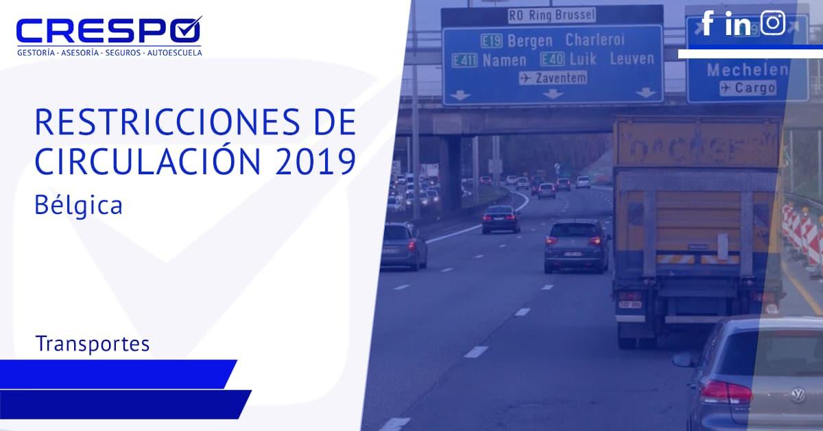 Restricciones de circulación camiones 2019
