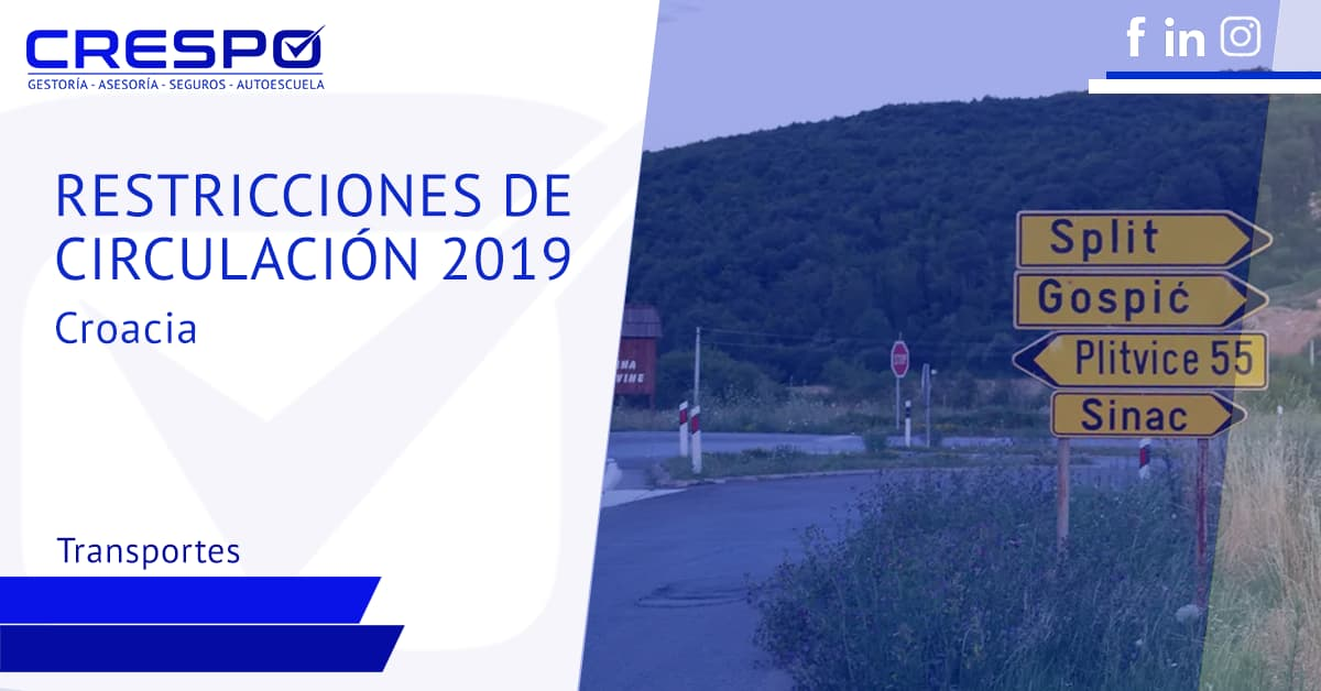 Restricciones de circulación Croacia 2019