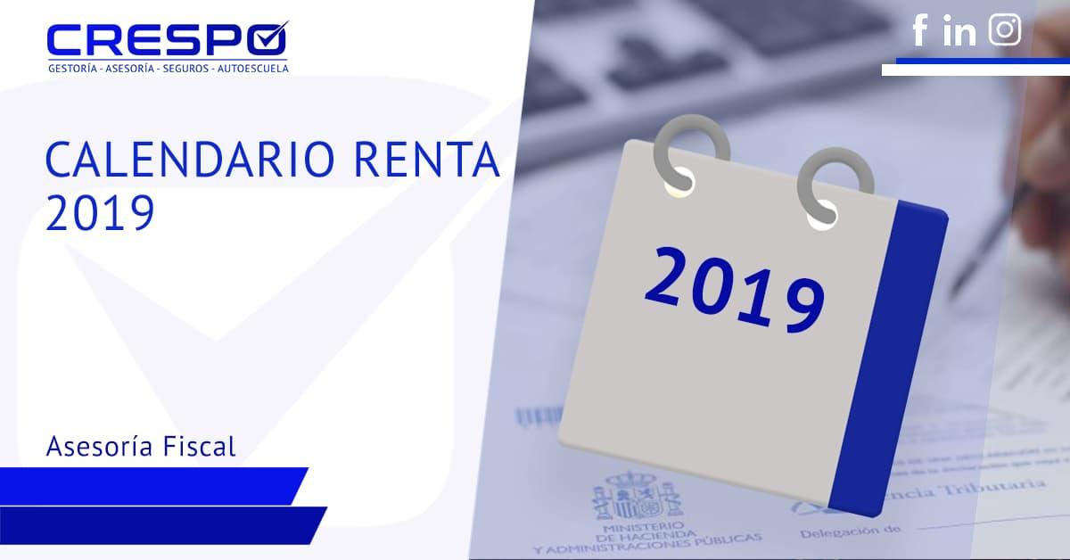 Calendario Renta 2019