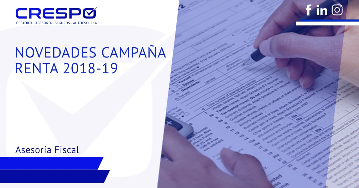 Novedades campaña declaración Renta 2018-19