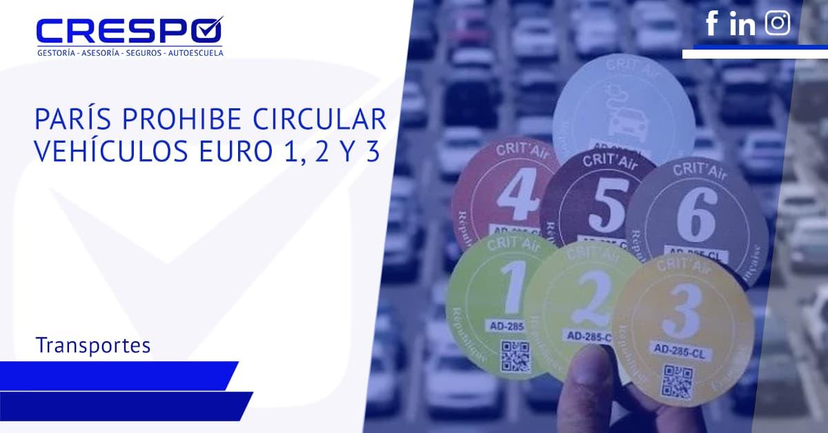 París prohibe circular vehículos euro 1, 2 y 3
