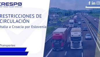 Restricciones de circulación de Italia a Croacia por Eslovenia
