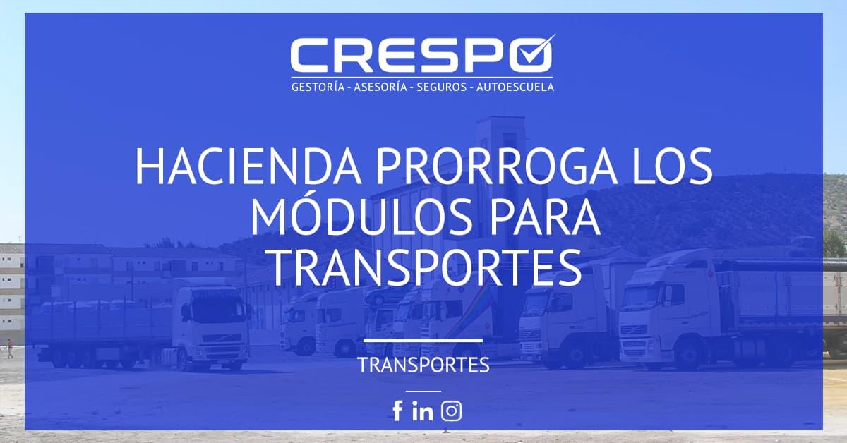 Hacienda prorrogará los módulos para transportes