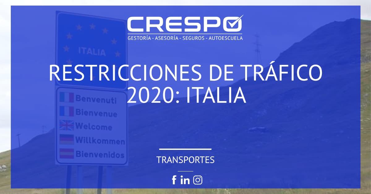 Restricciones circulación 2020: Italia