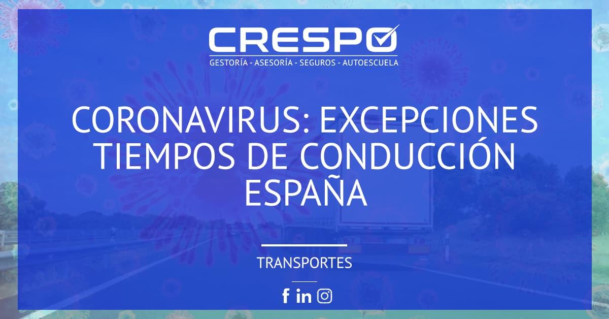 Coronavirus: excepciones tiempos conducción España
