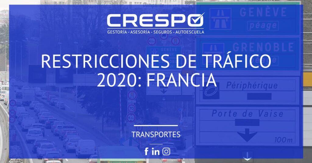 Restricciones circulación 2020: Francia