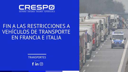 Fin restricciones vehículos de transporte francia e italia
