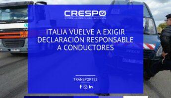 Italia vuelve a exigir la Declaración Responsable a conductores