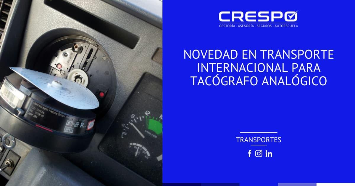 Novedad en transporte internacional para el tacógrafo analógico