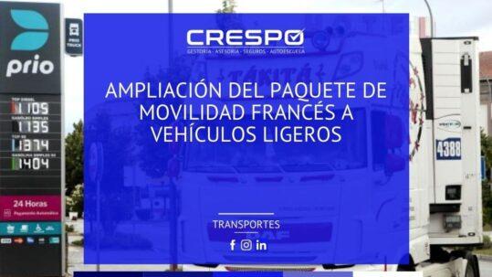 Ampliación del Paquete de Movilidad francés a vehículos ligeros