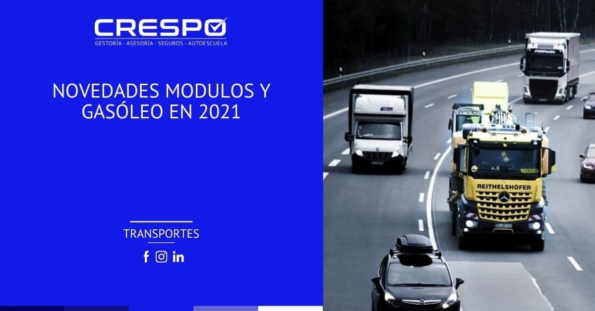 Novedades módulos transporte y gasóleo en 2021