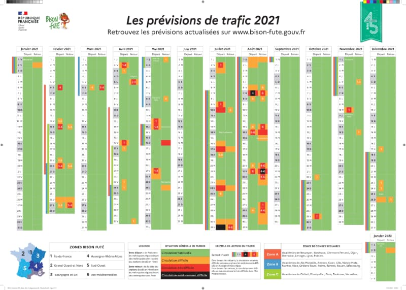 Calendario restricciones de circulación Francia 2021